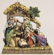 1 Piece Nativity Scene Holy Family and Kings with Stable and Star made of Resin measures 9 and 3 quarter by 9 and 1 half by 1 and 3 quarter inches RO34365