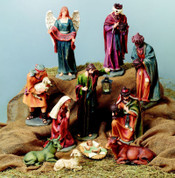 11 Piece Traditional Nativity Set | Handpainted | Carved Wood Look | 22""