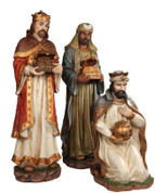 3 Piece Nativity 3 Kings 2 Standing 1 Kneeling made from HandPainted resin range in height from 24 and 1 half to 40 inches PT9242E