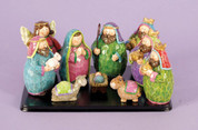 "10 Piece Children's Nativity Bright Colored Round Figures Mary Includes Mary Joseph Jesus 1 Angel 1 Shepherd 3 Kings and 2 animals Base included Pieces About 3-1/2"" High LRI207141"