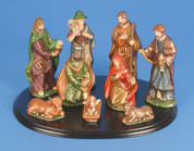 9 Piece Traditional Nativity Set Includes Jesus Mary Joseph 1 Shepherd 3 Kings 1 Ox 1 Donkey Gold Accents Base 5 inch pieces LRI307237