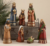 7 Piece Traditional Nativity Muted Colors with gold accent in Soft Finish tallest pieces measure 5 and 3 quart inches includes jesus mary joseph shepherd and 3 kings DEL50871