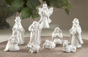 9 Piece Traditional Nativity Set in Snow White Ceramic includes Jesus Mary Joseph 1 angel 3 kings 1 lamb and 1 cow average height is 4 inches DEL54809