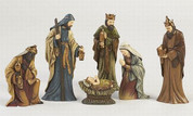 6 Piece Tradtional Nativity Set with Praying Jesus elongated figures in Deep Colors tallest is 6 inches high TJC907911