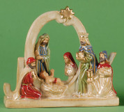 1 Piece Nativity Features Holy Family and Three Wise Men With the Word Joy made of Porcelain measures 7 by 2 inches LRI907224J