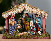 Traditional Nativity Porcelain Holy Family & 3 Kings Figurines In Stable 3 and 1 quarter by 8 by 6 inches TRIX5165B