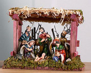 1 Piece Traditional Nativity Porcelain Holy Family and 3 Kings Figures In Stable made of Wood and Moss-Covered Stable 3 and quarter by 6 by 8 inches TRIX5165A