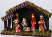 7 Piece Children's Nativity Set Includes Jesus Mary Joseph 3 Kings and 1 Lamb made of Porcelain Stable 7 inches TRIX1453