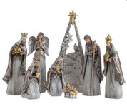 Starry Night 8 Piece Nativity Set includes Jesus Joseph Mary 3 Kings  and Bethlehem Backdrop Grey Silver & Gold Figures measure 2 to 9 inches Backdrop measures 12 and 1 half inches tall RAZ3216189