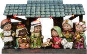1 Piece Children's Nativity Set Includes Baby Jesus Mary Joseph 1 Lamb 1 Shepherd and Three Kings in Stable With LED Light measures 2 inches by 10 and 3/4 quarter inches by 6 and 1 half inches TRIX6745
