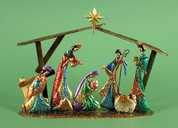 Contemporary metal Nativity Set Stylized Pieces Are Attached to Stable measures 15 and one half by 4 and 2 quarter by 12 and 1 half inches LRI307207