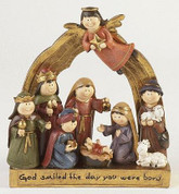 1 Piece Children's Nativity Gold Arch Base and Accents Message on Base reads God Smiled the Day you Were Born stands 8 inches tall TJC907903