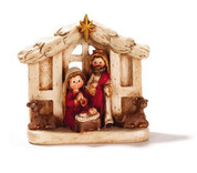 1 Piece Children's Nativity Holy Family & Animals white Resin with red and gold accents DICHNAT161