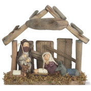 Holy Family Figurine showing Nativity made of Porcelain in Soft Colors stands 7 and 1 quarter inches tall DICHNAT964