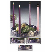 Advent Wreath Depicting Journey To Bethlehem Made Of Resin & Brass With Three Purple And 1 Pink Candle