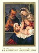 Christmas Remembrance Mass Card holy family in Rectangular Gold embossed frame cards measure 4 and 7 eighths by 6 and 3 quarter inches come 25 per box BCCX370