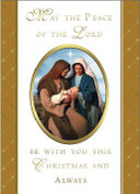 Peace of the Lord Mass Card shows holy family in gold embossed frames card measures 4 and 7 eighths by 6 and 3 quarter inches come 25 per box Christmas BCCX356
