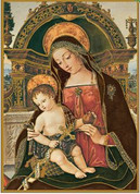 Madonna & Child Mass Card with Christmas Message measure 4 and one half by 6 and 1 eighth inches come 50 per box BCCH368