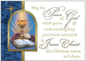 Peace Of God Mass Card with Christmas measures 4 and 1 quarter by 6 and 1 eighths inches and comes 50 per box BCCI353