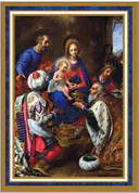 Christmas Adoration Mass Card three kings adore christ in picture with gold and white accents measures 4 and 7 eighths by 6 and 3 quarter inches come 25 per box BCCW364