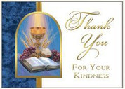 Eucharist & Scripture Thank You Card Blank inside measures 3 and 1 half by 4 and 7 eighth inches 25 Count BCCZ390