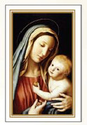 Madonna & Child Holy Card with Gold Edge measures 2 and 3 quarter inches by 4 and 1 quarter inches comes in box of 100 BCHG357