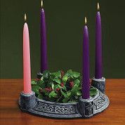 Celtic Advent Wreath Green Made Of Resin In An Unending Knot Motif Grey Stone Look AB70750K