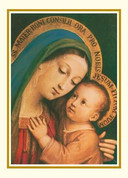 Madonna & Child Thank You Card showing our lady of good counsel with Gold Ink saying thank you for your kindness 50 Count 3 and 1 half inches by 4 and seven eighths inches BCCQ133