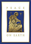 Peace on Earth Mass Card Christmas shows Blue & Gold Embossed image of holy family measuring 4and 7 eighths by 6 and 3 quarter inches come 25 per box BCCX274