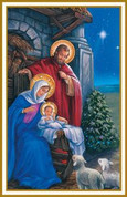 Holy Family Holy Card Christmas Scene with Gold and White Rim measures 2 and 3 quarter inches by 4 and 1 fourth inches BCHG239