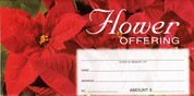 Christmas Flower Offering Envelopes come 100 per package and measure 3 and 1 eighth inches by 6 and 1 quarter inches HT8269