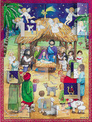 Nativity Advent Calendar Made of Paper Numbered Windows Reveal Scenes measures ten and one half by 14 inches DICHCAL2