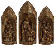 3 Piece Traditional Nativity 3-D Triptych Style Shows Holy Family, Wise Men, Angel & Shepherd in Ornately Detailed Alcoves tallest piece measures 15 and 1 half by 16 and 1 half inches RAZ3211086