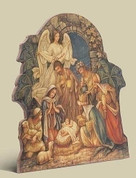 Nativity Plaque Giclée Holy Family & Adoration Fiberboard stands 13 inches tall RO33057