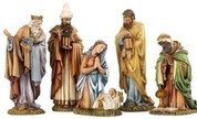 5 Piece Traditional Nativity Set includes Infant Jesus with Mary Joseph & 3 Kings Luxurious Design tallest piece is  8 and 1 quarter inches tall RO36343