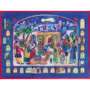 Nativity Advent Calendar paper with Royal Blue border and windows revealing scripture 10 inches by 14 inches DICHCAL2