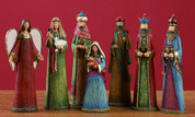 7 Piece Contemporary Nativity Set Includes Jesus Mary Joseph 1 Shepherd 3 Kings & 1 Angel Elongated Figures In Bright Colors measures 6 inches TRIX4936