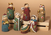 7 Piece Childrens Nativity Set with holy family 3 kings and angel Embellished Knit Look 4 inches tall GER2092930