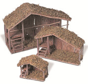 Nativity Stable made of Wood & Moss in 7 11 or 15 inches specify size GER107