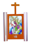 Stations Of The Cross Set of 15 with Unique Frame & Vivid Colors made of Wood and Metal measure 8 and 1 half by 6 inches Made In Italy LALVC043