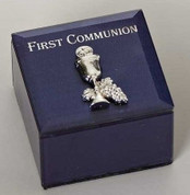 blue glass First Communion Keepsake Box with silver finished Blessed Sacrament Emblem measures 2 and 1 half inches square by 1 and 3 quarters inches deep RO40932