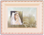 First Communion Music Box Plays Ave Maria girl Image IN Wood and Glass measures 8 by 6 by 2 and 1 quarter inches CGCMBIV