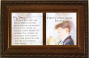 Prayer for First Communion wood Music Box with removable inserts in frame style lid 6 by 4 inches for boy plays Ave Maria CGCMMWG