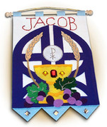 Blessed Sacrament Banner Kit for Boy includes instructions precut felt pieces and all materials to assemble a 9 by 12 inch Personalizable banner SPR653