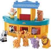 10 Piece Children's Noah Play Set Fisher Price Little People Set Includes Noah, Ark & 8 Animals Deck of Ark Is Removable  15 by 5 by 9 inches SPRNOAH