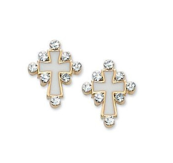 Cross Earrings Gold & White with Crystal Accents measure 1 half inch MAEAR3