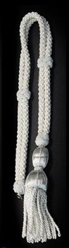 First Communion Shoulder Cord is Silver Braided with Tassel SIFCP10S