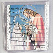 First Communion Rosary Beads with Spanish Remembrance Card and Crystal One Decade Rosary for a girl SIFCIR428GS