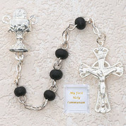 5 Millimeter black wood Communion Rosary Beads with Blessed Sacrament Centerpiece MAP121R