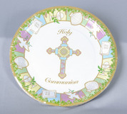 Holy Communion party paper plates with Cross and Symbols measure 9 inches and have 10 per package MH23409